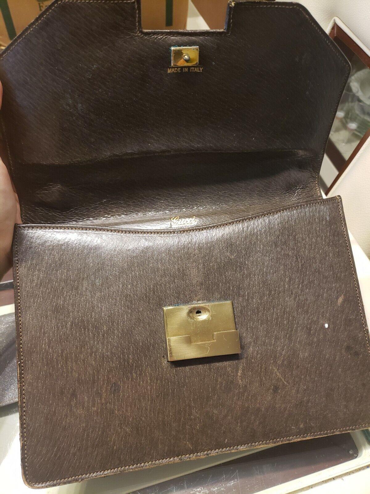 Vintage GUCCI Classic Brown Kelly Purse Handbag T… - image 4