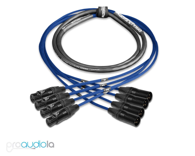 Premium 4 Channel Mogami 2931 Snake   Neutrik Gold XLR-F XLR-M   Blau 200 ft.