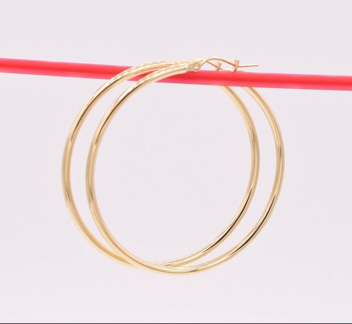 1 3 4  2mm X 45mm Large Shiny Plain Hoop Earrings REAL 10K Yellow gold 2.6grams
