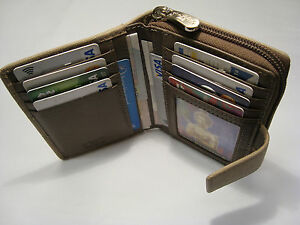 Genuine-Leather-Ladies-Purse-Wallet-Compact-Size-Boxed-Top-Brand-Graffiti-TAUPE