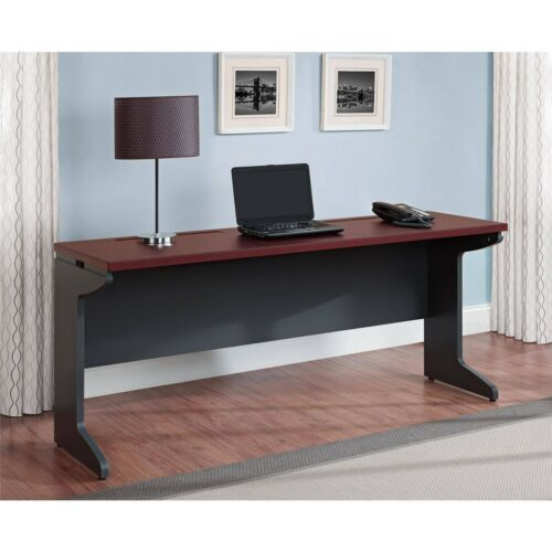 Long Computer Desk Credenza Home Office Table Large Work Surface Cherry Gray New
