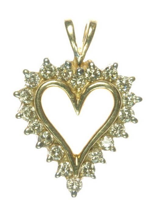Ladies 10K Yellow gold 1 3 CT Diamond Heart Cluster Estate Pendant J250302