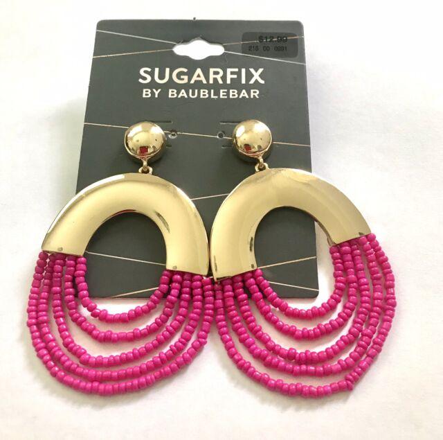Sugarfix by BaubleBar Hoop Statement Bead Gold Tone Earrings Pink A17