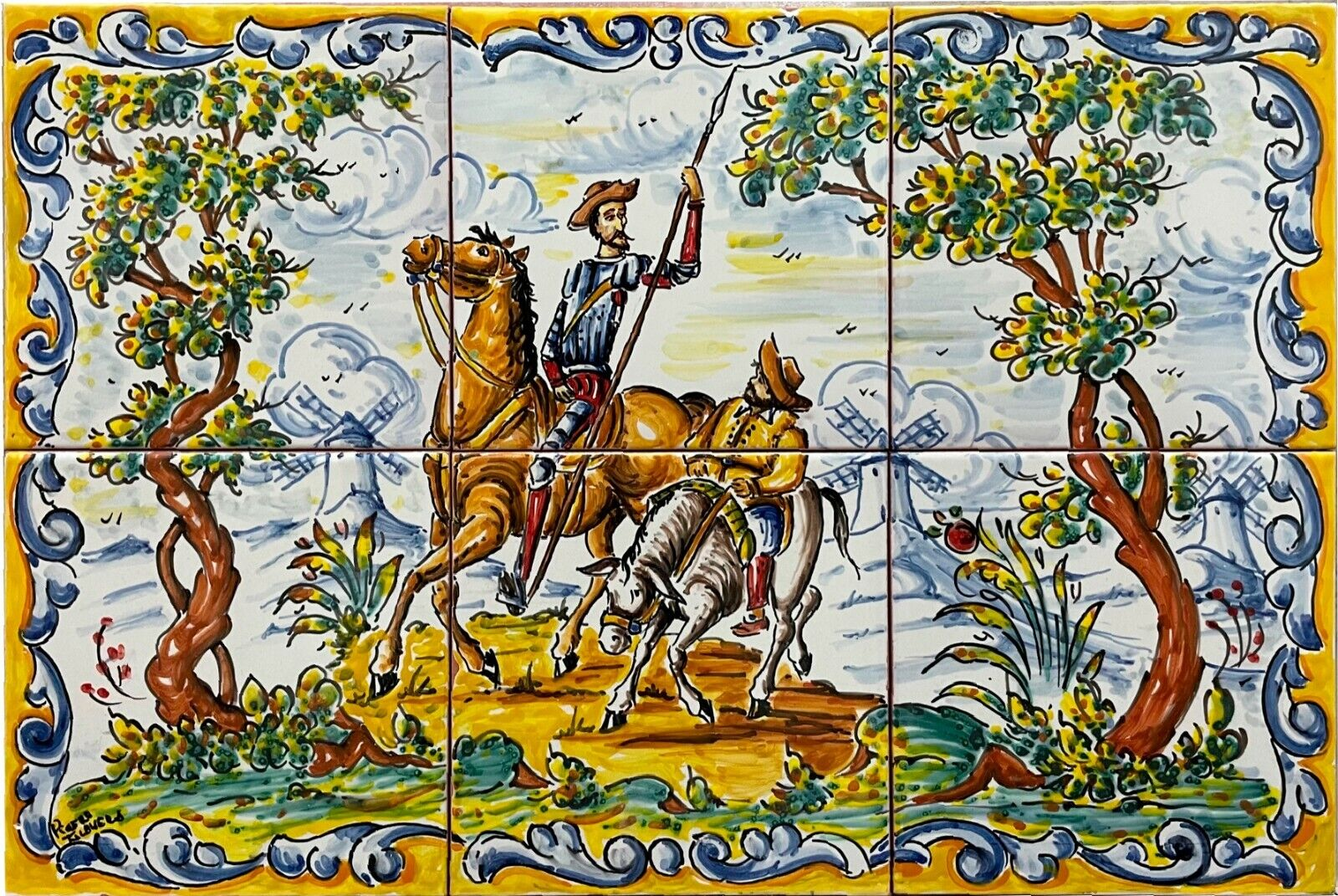 Hand Painted QUIJOTE and SANCHO PANZA Cervantes tiles 18