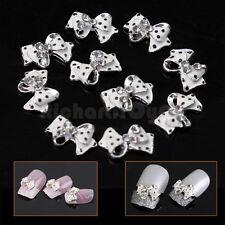 10 x 3D white Nail Art Glitters Slices DIY Tie Rhinestones Alloy Bow Decoration