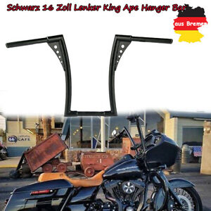 Schwarz-1-1-4-034-16-Zoll-Lenker-King-Ape-Hanger-Bar-fuer-Harley-Sportster-XL-FLST