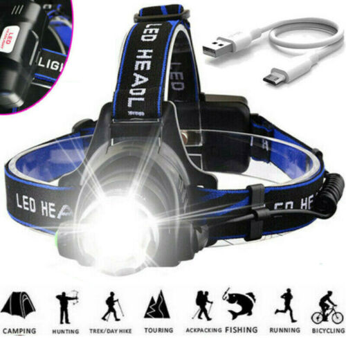 Zoom Headlamp 350000LM Rechargeable T6 LED-Headlight Flashlights Head Torch Fish