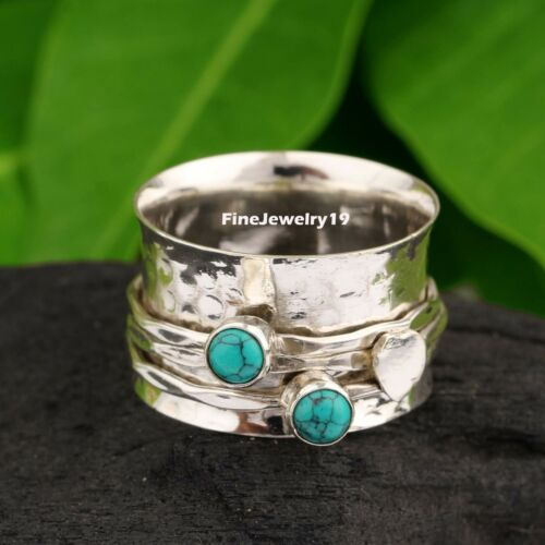 Turquoise Ring 925 Sterling Silver Spinner Ring Meditation Handmade Jewelry A499