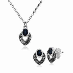 Jewelry & Watches Intellective Sterling Silver Art Deco Sapphire & Marcasite Stud Earring And 45cm Necklace Set