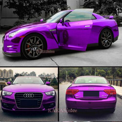 Stretchable DIY Purple Car Part Glossy Mirror Chrome Vinyl Wrap Sticker Sheet AB
