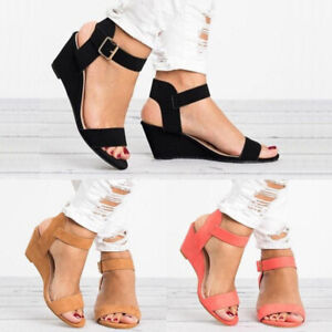 New-Womens-Ladies-Wedge-Slingback-Sandals-Buckle-Ankle-Strap-Peep-Toe-Shoes-Size