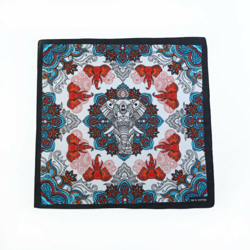 1pce Bandana 54x54cm with Elephant and Paisley Design in Bright Colours
