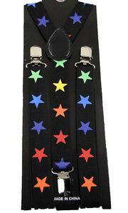 Unisex Clip-on Braces Elastic Suspender Rainbow Glitter