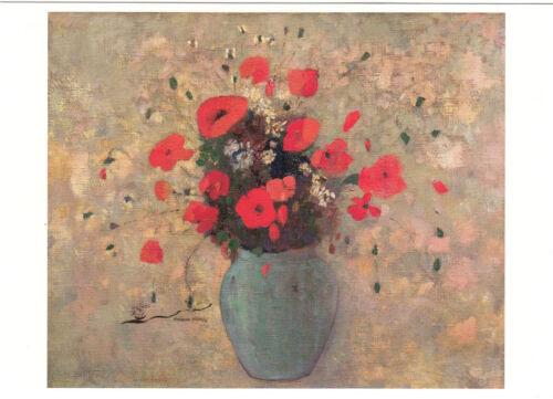 Kunstkarte Postcard Art Vase mit Mohnblumen Odilon Redon
