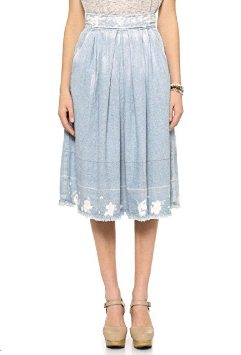 RACHEL COMEY blueE CHATHAM PLEATED DENIM MIDI SKIRT SIZE 0