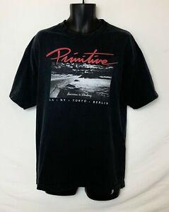 Primitive-Men-039-s-Black-Short-SS-T-Shirt-Cloud-View-Graphic-White-amp-Red-Sz-XL
