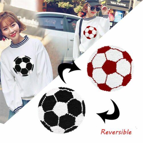 réversibles couleur le football paillettes patch paillette appliqué; brodés