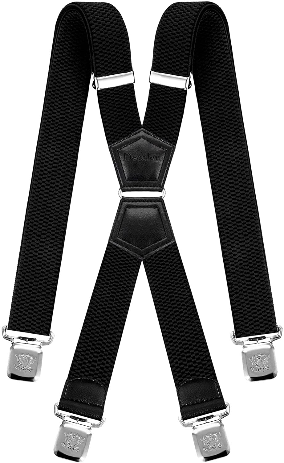 Decalen Mens Braces X Style Very Strong Clips Adjustable One Size Fits All Heavy