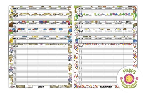 Choose 2 3 4 5 Column Personalised Month to View Calendar Organiser INC STICKERS