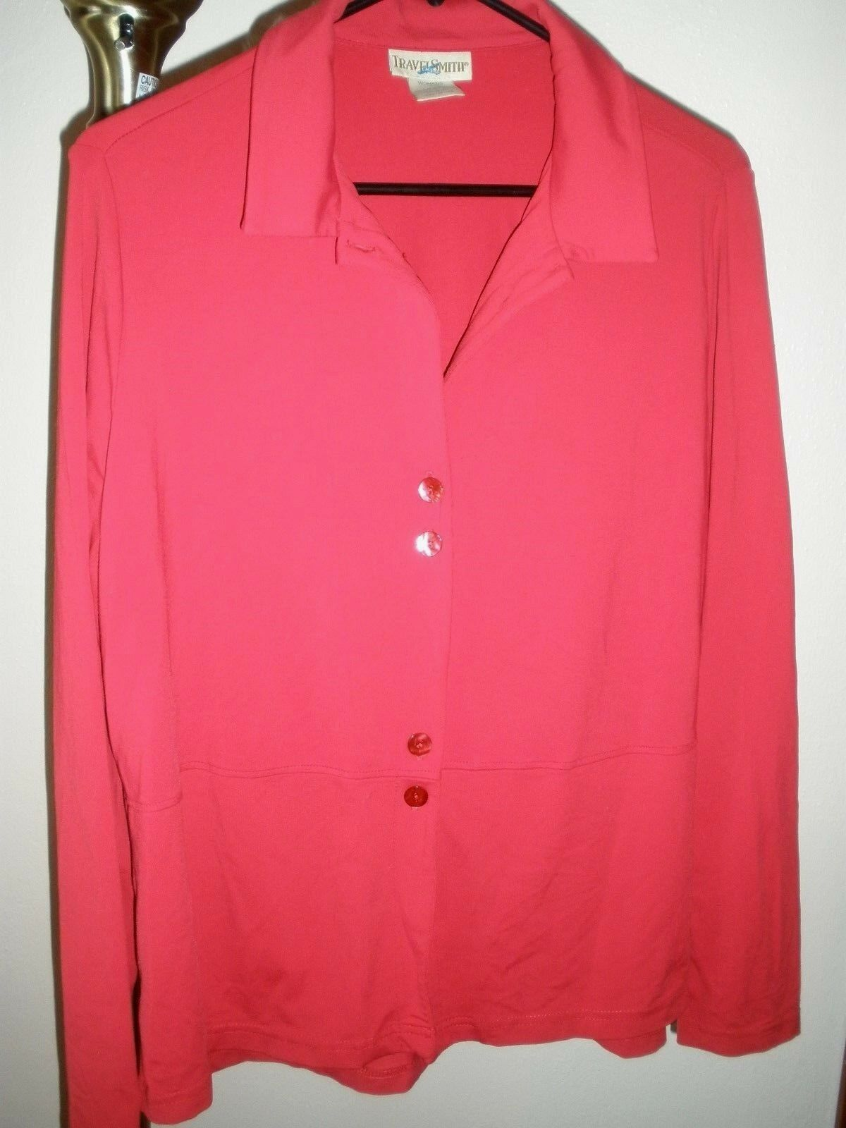 WOMEN'S RED STRETCHY TRAVELSMITH L S BUTTON-DOWN TRAVEL CASUAL SHIRT SZ LARGE