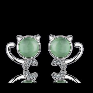 Cute-Solid-925-Sterling-Silver-Green-Opal-Cat-Ear-Stud-Earrings-Women-Jewelry