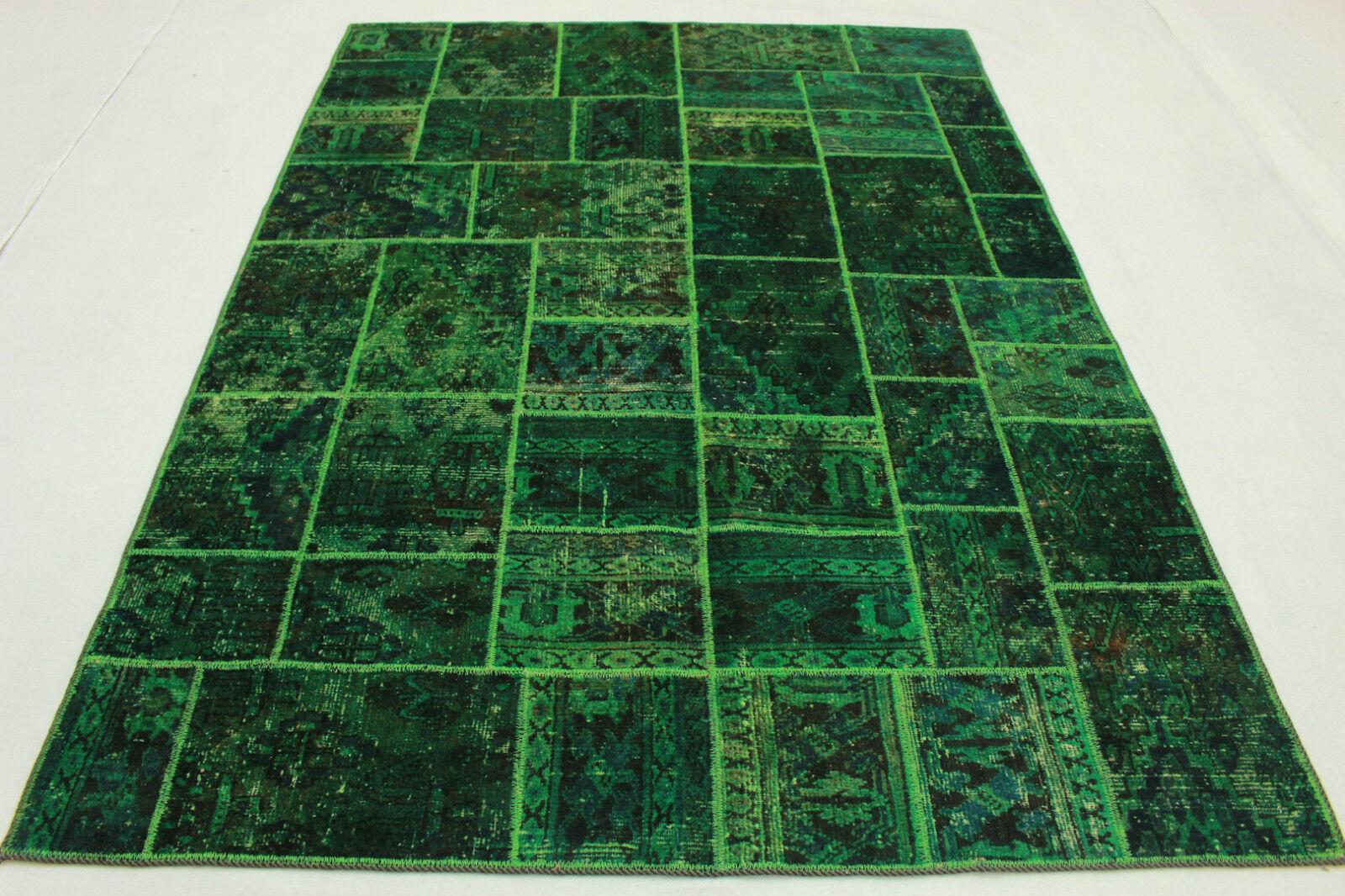 Vintage patchwork Orient alfombra overdyed 240x170 verde look usado Handmade 2959