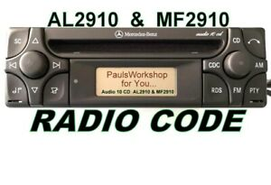 Radio-Code-fuer-Mercedes-Alpine-AUDIO-10-CD-MF2910-AL2910-KEY-CODE