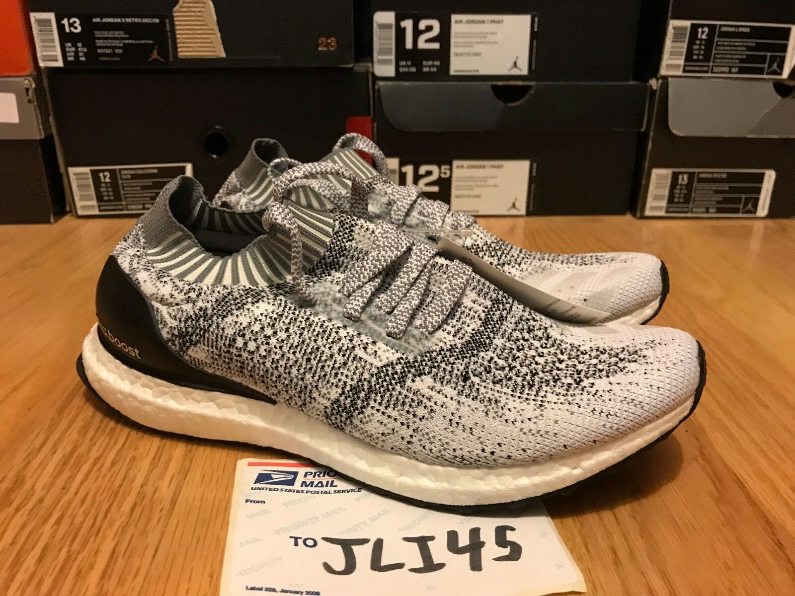 Men's Adidas Ultra Boost Uncaged Grey White Sneakers shoes Size 8.5 NMD EQT 10