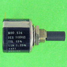 "Precision Potentiometer 100K Ohm 5% 10 Turn 1/4"" x 3/8"" OEM Approved Spectrol"