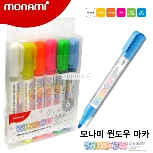 Monami Water-based Window Marker for Glass Board Acrylic 6 Color Set
