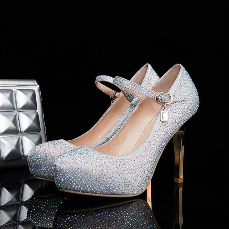 Women Platform Glitter Wedding Wedding Wedding Bridal Evening Party Ankle Strap High Heels shoes 48cdd8