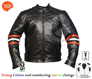 New-Black-motorbike-leather-jacket-with-orange-and-white-strip-on-arms-any-size