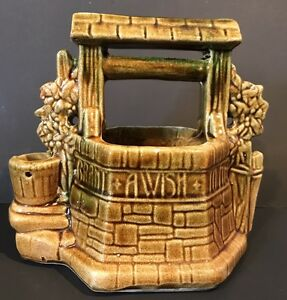 McCoy-USA-Grant-a-WISH-to-ME-Wishing-Well-Planter-Pottery-Brown-Greens