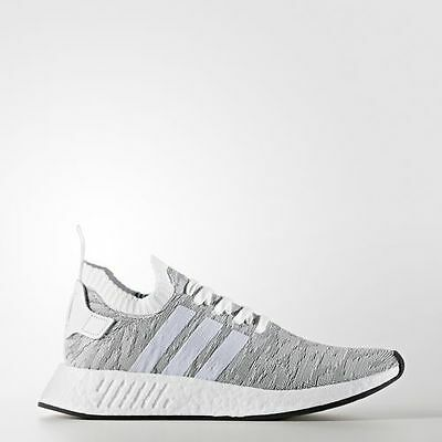 new product 1e156 8938d NEW MEN'S ADIDAS NMD R2 PRIMEKNIT SHOES [BY9410] WHITE//WHITE-BLACK | eBay