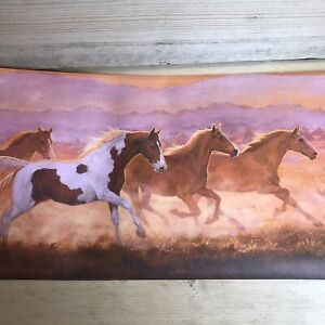 Wallpaper Border Roll Wild Horses Running at Sunset - Great for Crafts or Decor