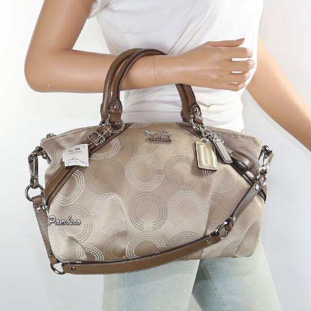 Nwt Coach Madison Dotted Op Art Sophia Satchel Shoulder Bag 15935 Brown Rare