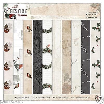 "Papermania 12 x 12"" scrapbooking paper 32 sheet Festive Fauna holly wreath robin"