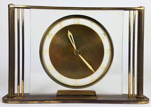 Art deco orologio orologio da tavolo in ottone funzionante
