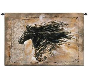 d72ffd4284b65 Image is loading 44x29-BLACK-BEAUTY-Horse-Western-Tapestry-Wall-Hanging