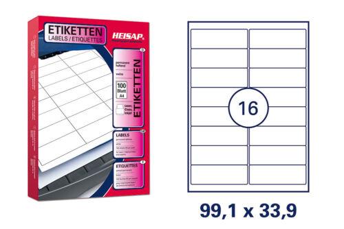 1600 Universal Drucker-Etiketten 99,1x33,9 Weiß permanent 100 Bogen A4 HEISAP 16