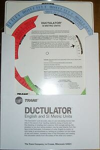 Details about New Trane Ductulator Duct Sizing Calculator Slide Chart Graph  With Sleeve