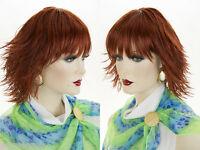 Youthful Wet Look Modern Layered Razor Style Shag With Bangs Straight Wigs