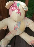 "Antique Primitive Grubby 24""Feedsack Patchwork Cutter Quilt Hand Made Teddy Bear"