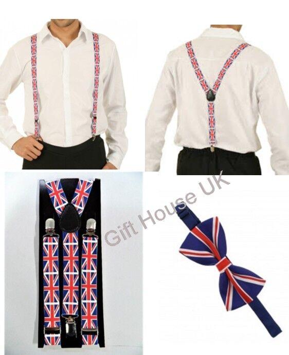 Union Jack Bow Tie & BRACES Set Men's Women Unisex Trouser Elastic Y-Back Fancy