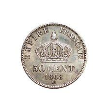 FRANCE - Monnaie de 50 centimes argent type NAPOLEON 1868 BB Strasbourg SPL