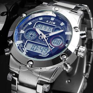 Men-039-s-Quartz-Wrist-Watch-Black-Dial-Silver-Stainless-Steel-Band-Outdoor-Date-Man