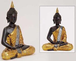 deko thailand goldener buddha figur statue skulptur feng shui 30 cm ebay. Black Bedroom Furniture Sets. Home Design Ideas