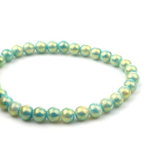 2476 50 Pièces Perles De Verre 8 Mm Paillettes Turquoise Verre Perles Beads