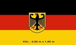 Fahne XXL DEUTSCHLAND MIT ADLER 2,5 x 1,5 m Fan Flagge 2 Ösen WM EM  NEU # F106