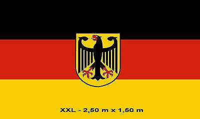 EntrüCkung Fahne Xxl Deutschland Mit Adler 2,5 X 1,5 M Fan Flagge 2 Ösen Wm Em Neu # F106 Schmerzen Haben